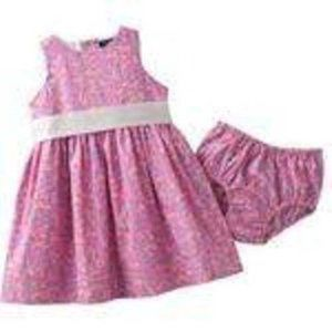 Chaps 2 Pc Pink Floral Easter Sundress & Bloomers
